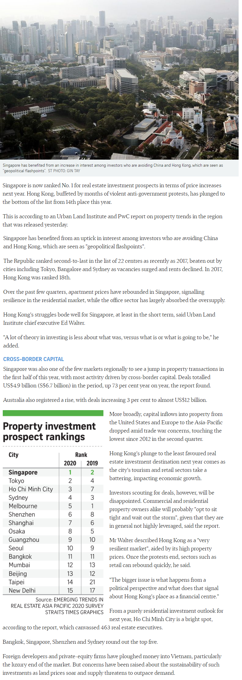 The Gazania - Singapore Tops Region For Property Investment Prospects