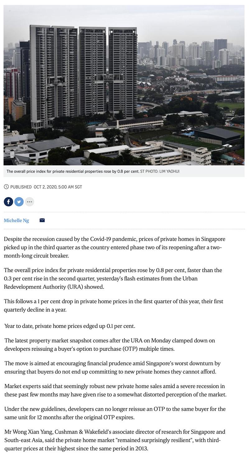 The Gazania - Private home prices rise faster in Q3 despite Covid-19 recession 1