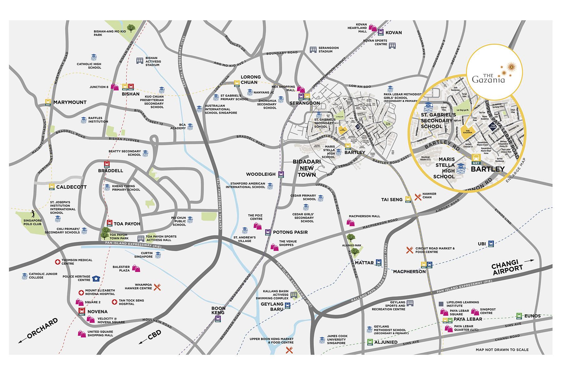 The Gazania Location Map